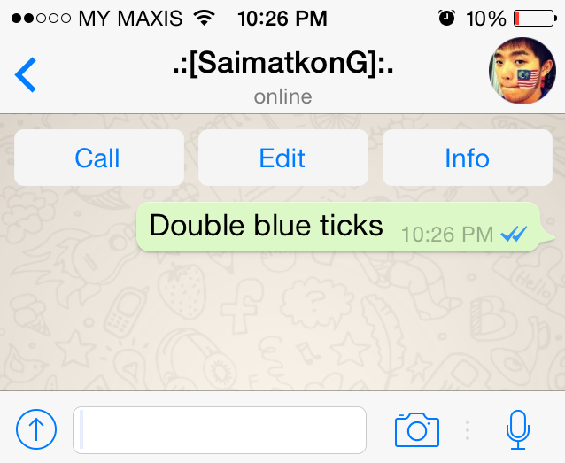 What do the double blue ticks on WhatsApp mean?