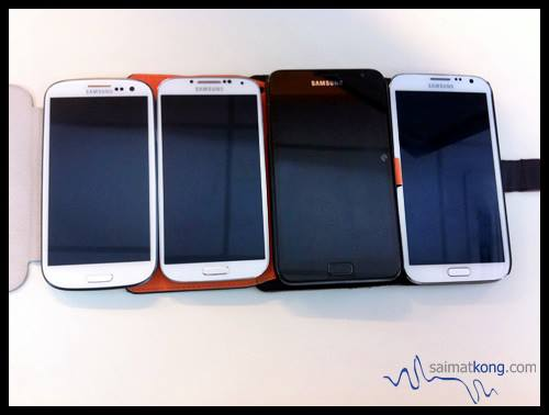 Check out the comparison between Samsung Galaxy S III, Samsung Galaxy S4, Samsung Galaxy Note and Samsung Note II.