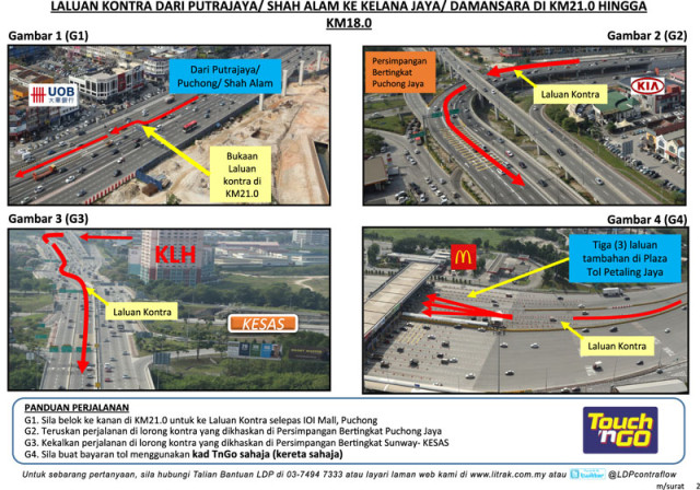 LDP Contra Flow for Putrajaya / Shah Alam Bound Traffic to Kelana Jaya