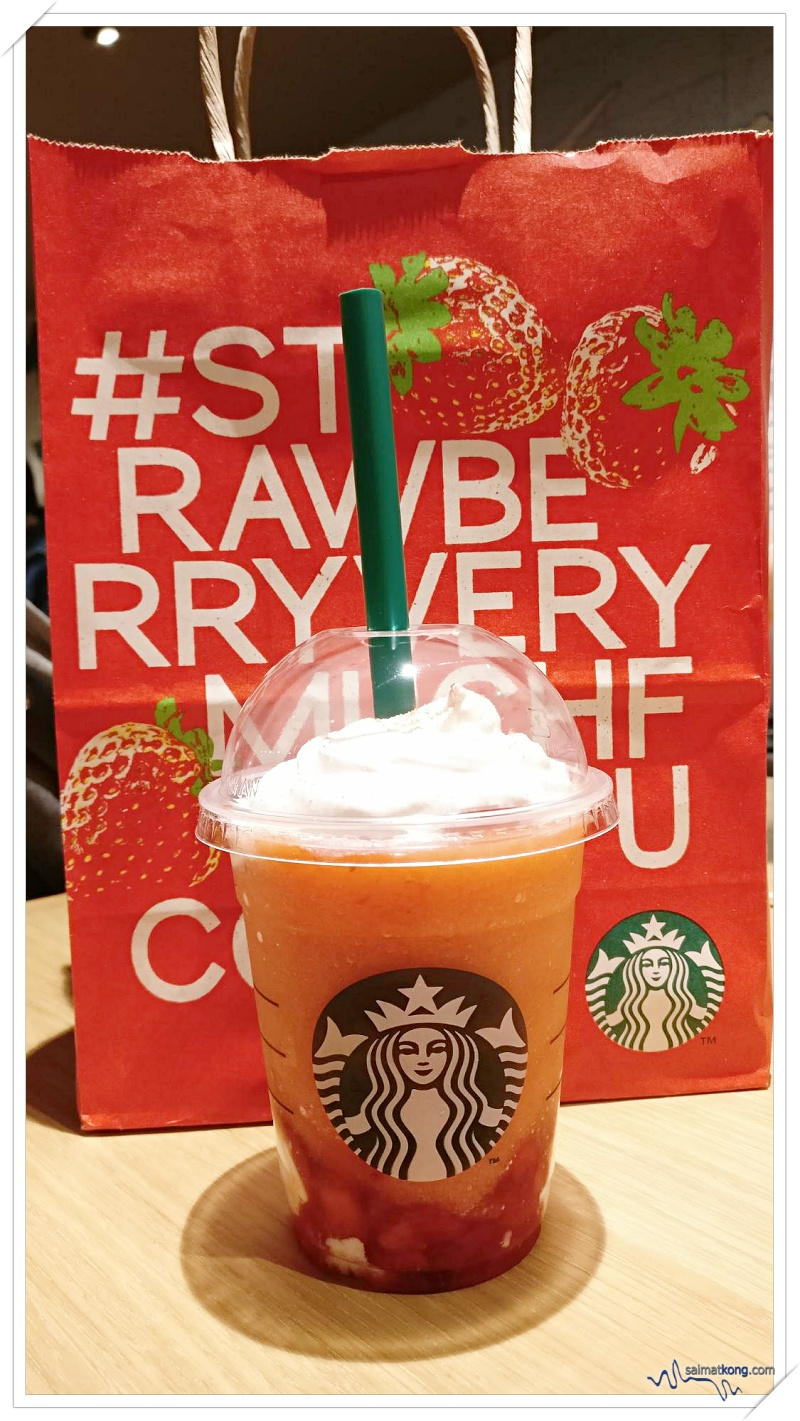 Tokyo Trip Itinerary & Highlights (Part 2) - Loving the Starbucks' Strawberry Very Much Frappuccino. It's sweet, sticky and very berry nice!
