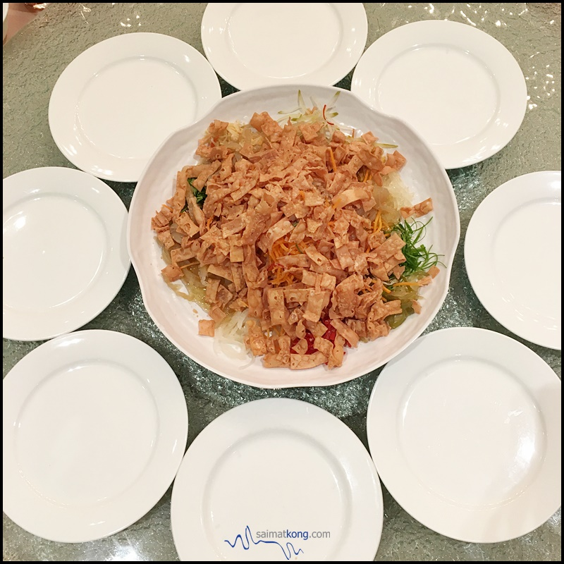 "Happy Birthday to ""YOU""! Let's celebrate...with 'Lou Sang' : Yee Sang with plates around"