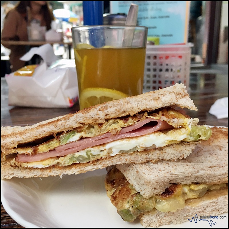Sinfully delicious toasted ham, omelette & vegetable sandwich with peanut butter @ Yue Hing Dai Pai Dong in Central.